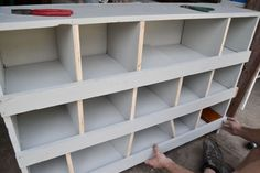 I love nesting boxes. Every time I have found them in an antique store or barn sale, they are way out of the price range I would want to spend on one. Old Bookshelves, Built In Bookcase, Repurposed Furniture, Diy Furniture, Repurposed Items, Ikea White Shelves, Reading Nook Closet, Chicken Nesting Boxes, Pet Chickens