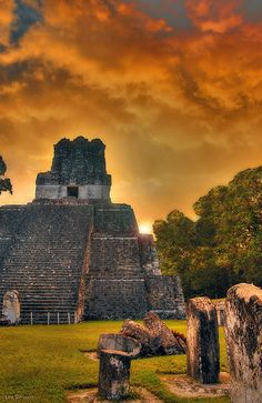 """Tikal Guatemala at sunset.  It would be nice to go back and see some of the """"sites"""" this time."""
