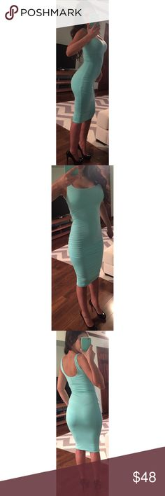 🇺🇸Double Fabric Essential Midi Dress in Seafoam This essential Midi dress is the must have basic tank dress for the season! It features a soft rayon spandex material, a scoop neck, a double layer and falls just below the knee. The best part is that the bodyon stretch fits like a glove giving that simple yet sexy look. It's soooo stretchy and comfortable and accentuates every curve while sucking in the bad stuff, lol. QUALITY IS AMAZING!!! One of my favorites!!!! Price is firm unless…