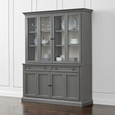 Cameo 2-Piece Grey Glass Door Wall Unit - Crate and Barrel