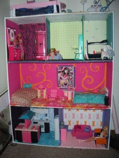 """this is the idea! Sara and I spent hours and hours and hours as kids in """"Barbie Land"""" - aka our basement. Our dad built us a Barbie house and we loved it. One day, hopefully either Sara or I will have at least 1 daughter and we're going to build her a dollhouse"""