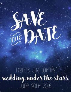Starry Night Save the Date Dark Blue Sky Printable by AlvaLumos