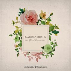 Fondo jardín de rosas pintado a mano Vector Gratis