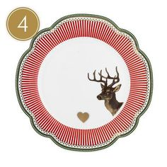 Lisbeth Dahl | Set of 2 Stag and Gold Heart Side Plates