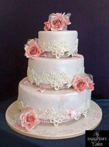 Lace & Sugar Roses Wedding Cake