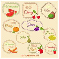 Marcas clássicas de frutas Vetor grátis