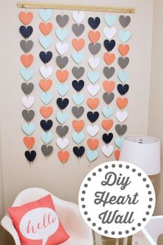 diy wall decor DIY step by step instructions for creating an adorable heart wall hanging perfect for a child's nursery or play room. Girls Room Wall Decor, Diy Nursery Decor, Easy Wall Decor, Nursery Room, Diy Wall Decorations, Cute Diy Room Decor, Wall Decor Crafts, Diy Wall Decor For Bedroom, Wall Decor Design