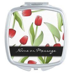 Red Tulip Floral Patten Love Modern Chic Spring Compact Mirror #makeup #valentinesdaygift #personalizedgift #weddinggifts #giftforher