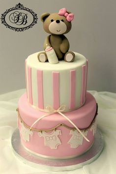 Cute Baby Shower Girl Cake. Would even look neat to just make the bear out of molding clay for decor.