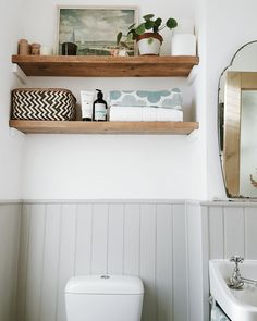 43 Apartment Bathroom Decor On a Budget Floating Shelves - Do you want to add or change the appearance of your apartment or house? Do you Decorate with a budget? Do you have a picture in the box and want show . Bathroom Shelves For Towels, Bathroom Wall Decor, Bathroom Interior, Bathroom Mirrors, Toilet Room Decor, Toilet Shelves, Bathroom Ideas Uk, Wooden Bathroom Shelves, Bathroom Candles
