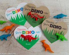 Printable Dinosaur Valentines Hearts for small dinosaur toy or dino eraser You're Dino-mite Instant Valentine's Working day is considered among my favourit Dinosaur Valentines, Kinder Valentines, Valentine Gifts For Kids, Saint Valentine, Homemade Valentines, Valentine Day Crafts, Holiday Crafts, Valentine Stuff, Holiday Ideas