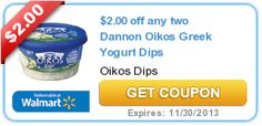$2.00 off any two Dannon Oikos Greek Yogurt Dips