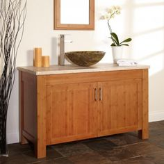 """48"""" Bashe Bamboo Vessel Sink Vanity with Travertine Top"""