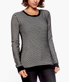 Look at this Black & White Houndstooth Sweater on #zulily today!