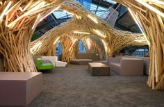 cool idea ..inside large building curved shapes that define areas made out of 2x4's/