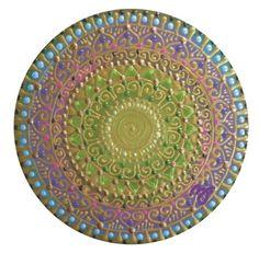 lila-zöld Spirálszimbólumos mandala/ purple-green Spiral-symbol mandala