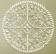 I love medallion stencils. Not only can these stencil designs be used as the center of a much larger medallion on a fixtureless ceiling (simply Plaster Mouldings, Plaster Art, Plaster Molds, Gypsum Wall, Plaster Of Paris, Fries, Elegant Home Decor, Stencil Painting, Stenciling Walls