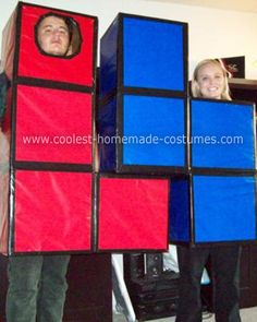 Homemade Tetris Couple Halloween Costume: My fiance and I are huge Halloween fans and we love coming up with an original idea every year. This year we got started in December 2008. We were playing