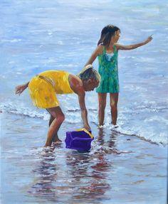 "Saatchi Online Artist: Diane Wilkinson; Oil, 2011, Painting ""Two girls on beach"""