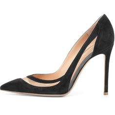 Gianvito Rossi Suede Tulle Keyhole Pump (22 815 UAH) ❤ liked on Polyvore featuring shoes, pumps, heels, suede shoes, gianvito rossi, heel pump, suede pumps and gianvito rossi pumps