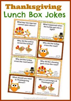 Thanksgiving Lunch Box Notes using Thanksgiving Jokes for Kids - Coupons Are Great