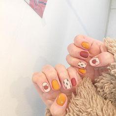 Make an original manicure for Valentine's Day - My Nails So Nails, Cute Nails, Happy Nails, Minimalist Nails, Nail Swag, Cute Nail Art, Cute Acrylic Nails, Korean Nail Art, Kawaii Nails