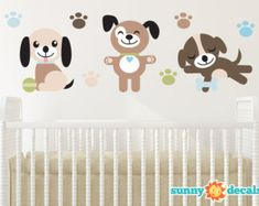 Puppy Dogs Fabric Wall Decals, Set of Three Adorable Puppies with Paw Prints, Repositionable and Reusable by Sunny Decals Puppy Nursery Theme, Nursery Room Decor, Nursery Themes, Nursery Ideas, Dog Nursery, Themed Nursery, Nursery Inspiration, Room Ideas, Nursery Wall Stickers