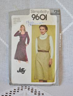 Vintage Simplicity 9601 Sewing Pattern Misses Dress Jumper Size 18 20 Crafts DIY Sewing Crafts PanchosPorch Sewing Crafts, Diy Crafts, Miss Dress, So Creative, Jumper, Sewing Patterns, Newspaper, Vintage, Storage