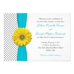 Yellow Daisy Aqua Polka Dot Wedding Invitation