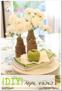 Great rope vases. -30 Awesome DIY Crafts You Never Knew You Could Do With Rope