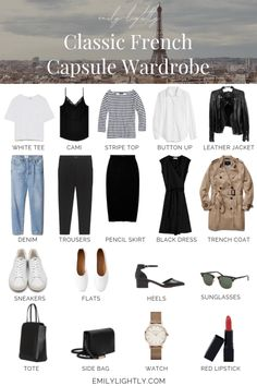 The Classic French Capsule Wardrobe The Classic French Capsul. The Classic French Capsule Wardrobe The Classic French Capsule Wardrobe - Emily Lightly // minimalism, simple style, slow fashion, minimalist outfit ideas. French Capsule Wardrobe, French Wardrobe Basics, Capsule Wardrobe Casual, Parisian Wardrobe, Simple Wardrobe, Classic Wardrobe, Minimal Wardrobe, Capsule Outfits, New Wardrobe