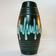 West German Pottery Vase with  Fat Lava Glaze by Scheurich