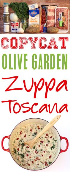 {Olive Garden Copycat} - Never Ending Journeys Zuppa Toscana Soup Recipe! This Copycat Olive Garden soup is such an easy dinner recipe that you'll love! Copycat Olive Garden Soup, Olive Garden Soups, Olive Garden Recipes, Bean Soup Recipes, Crockpot Recipes, Chicken Recipes, Cooking Recipes, Copycat Recipes, Crockpot Dishes