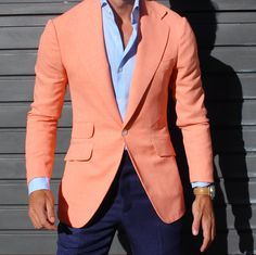 The Peach Jacket . All by Absolutebespoke — Absolute Bespoke High Fashion Men, Mens Fashion Suits, Mens Suits, Men's Fashion, Fashion Sites, Fashion News, Sharp Dressed Man, Well Dressed Men, Stylish Men
