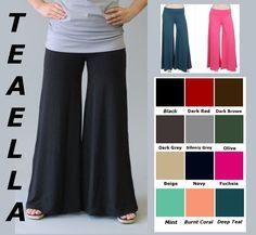 45b5f4054400c Plus Size Yoga Palazzo pants - and they come in longer inseams or shorter -  depending on individual need.