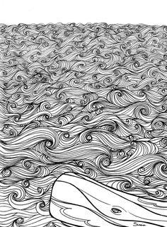 Line art for my Moby Dick Illustration - Sissia  http://sissiaart.tumblr.com https://instagram.com/sissia.art/