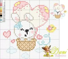 Coelhinhos Cross Stitch Boards, Cute Cross Stitch, Beaded Cross Stitch, Cross Stitch Animals, Cross Stitch Embroidery, Embroidery Patterns, Baby Cross Stitch Patterns, Cross Stitch Designs, Pixel Crochet Blanket