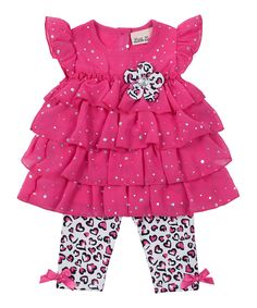 Look at this #zulilyfind! Fuchsia Tiered Tunic & Leggings - Infant by Little Lass #zulilyfinds