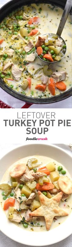 I've turned my favorite way to use up leftover turkey from my favorite baked pot pie to a totally comforting slurpable soup
