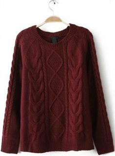 $38.26 cool Wine Red Diamond Cable Knitting Long Sleeve Sweater