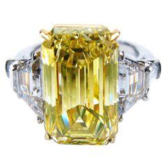 8.25 Carat Fancy Yellow Emerald Cut Diamond Gold -Platinum Engagement Ring-$197.360.