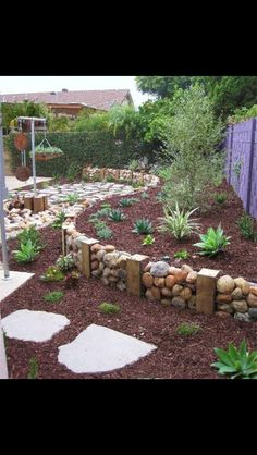 Garden edging-short stone and wood wall