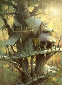 Ideas For Tree House Fantasy Art Fantasy House, Fantasy World, Fantasy Town, Environment Concept Art, Environment Design, Art Simple, Fantasy Kunst, Fantasy Places, Fantasy Setting