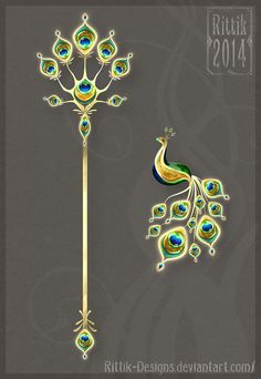 Peacock Staff and Brooch - Auction!!! by Rittik-Designs on deviantART
