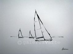 Original ink drawing - sailboats - europeanstreetteam