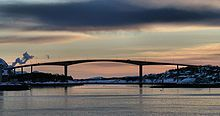 Brønnøysund Bridge is a cantilevered road bridge near the town of Brønnøysund in Brønnøy municipality in Nordland county, Norway