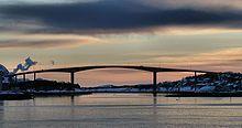 Brønnøysund Bridge is a cantilevered road bridge near the town of Brønnøysund in Brønnøy municipality in Nordland county, Norway