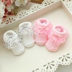 1 Pairs Non-slip Cotton Girl Kid Newborn Baby Socks Warm Bowknots Booties Socks