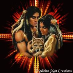 Wolf with Indians Quotes | Native Couple & Wolf Cub-