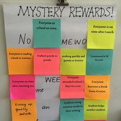 Mystery Rewards. Print on 3x3 post it notes. As the whole class completes a part, pull it off. When all stickies have been removed they get the reward underneath!